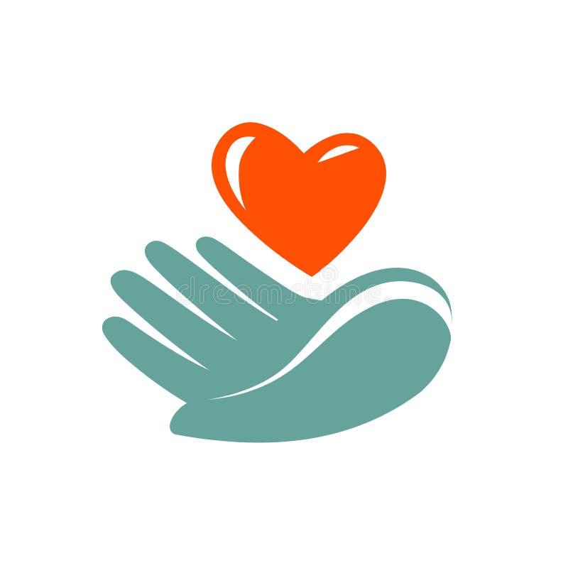 Schenking, liefdadigheidsembleem of etiket Het hartpictogram van de handholding Vector symbool royalty-vrije illustratie