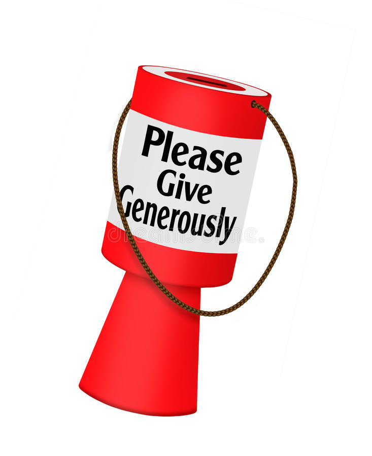 Schenkingen - de collectebus van de liefdadigheidsliefdadigheidsinstelling vector illustratie