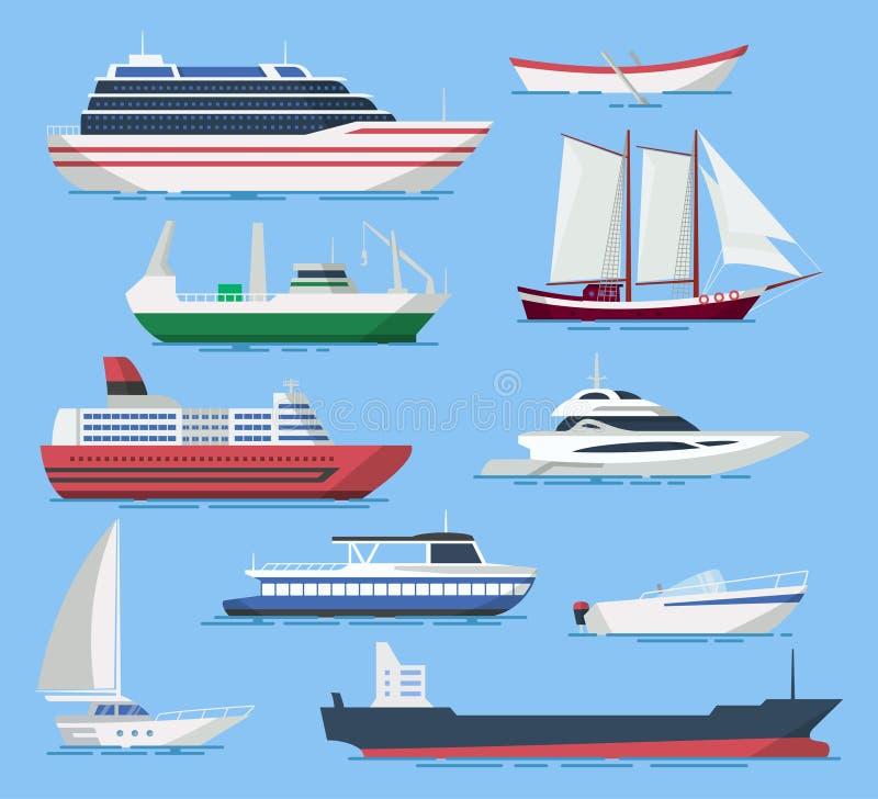 Schepen en botenvector die in een vlakke stijl wordt geplaatst royalty-vrije illustratie