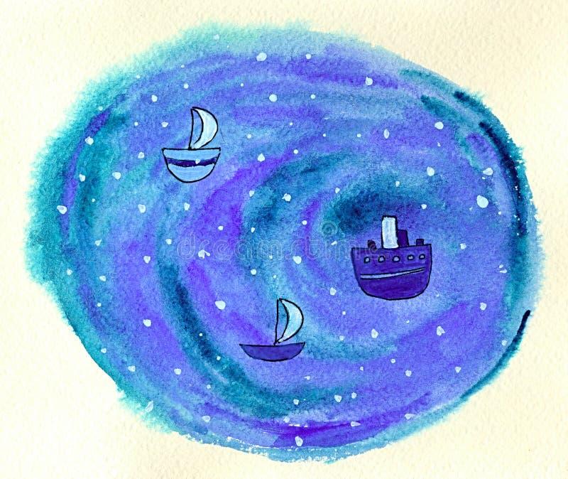 Schepen in oceaan stock illustratie