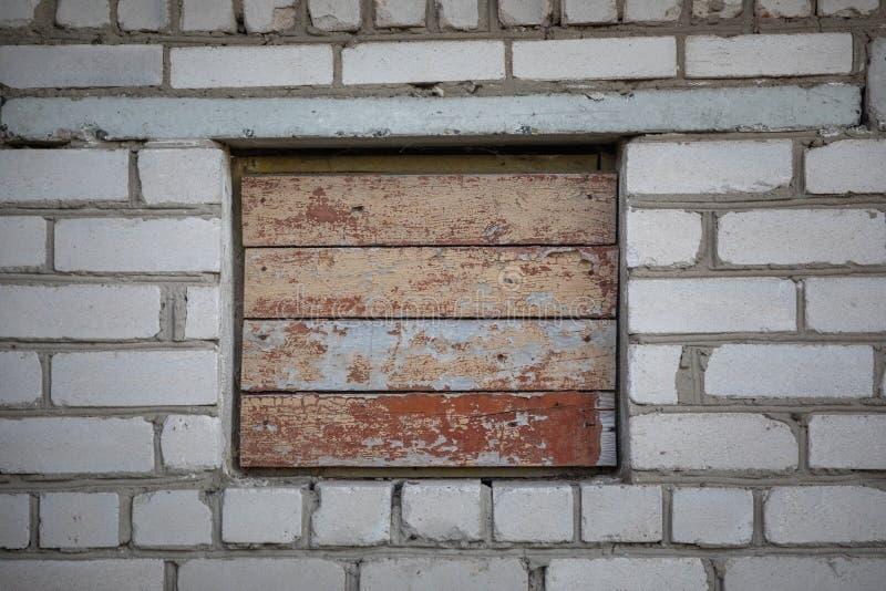 In:schepen-op venster op een bakstenen muur royalty-vrije stock foto