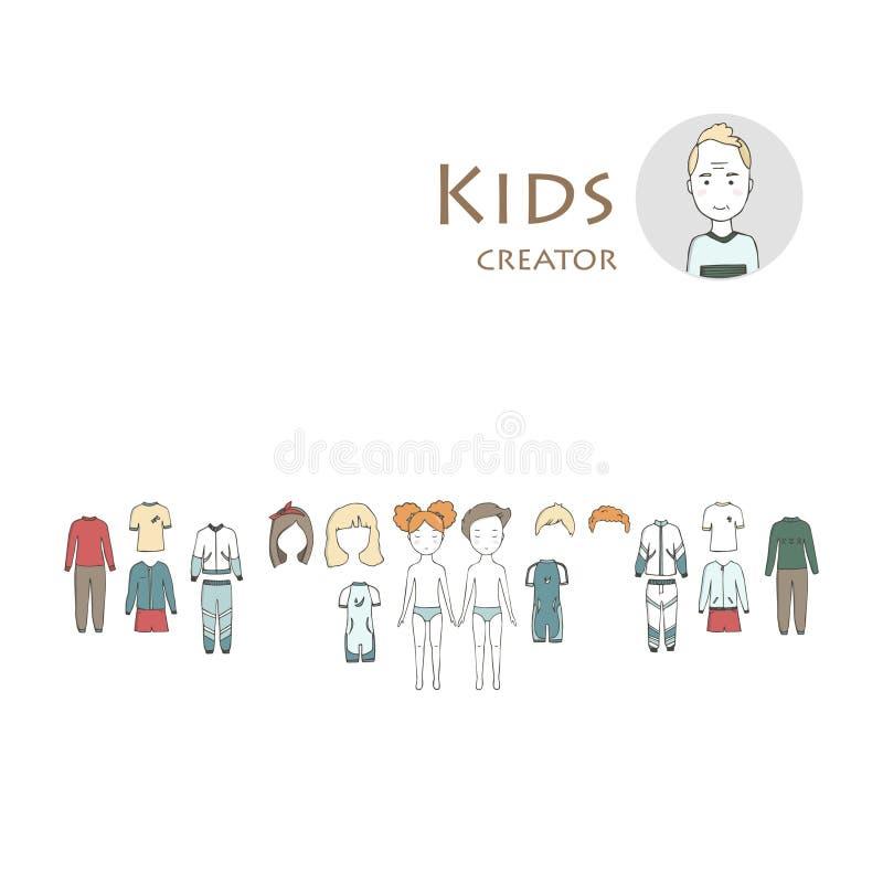 Schepper met jongen en meisje wordt geplaatst dat Uitrusting van kleding en haar De leuke illustratie van beeldverhaaljonge geitj stock illustratie