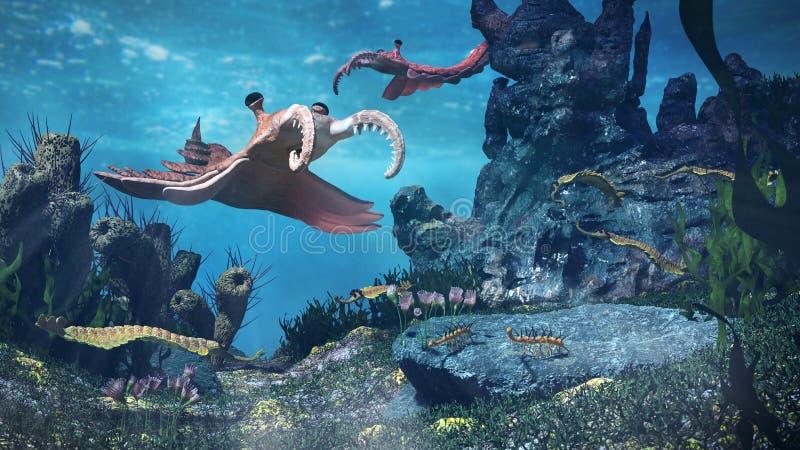 Schepselen van de periode Uit het Cambrium, onderwaterscène met 3d wetenschap van Anomalocaris, van Opabinia, van Hallucigenia,  stock foto