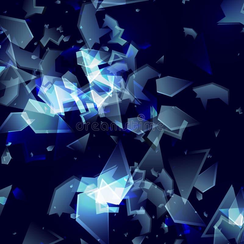 Scherben des defekten Glases Abstrakte ct-Vektorexplosion Gl?nzender Hintergrund vektor abbildung