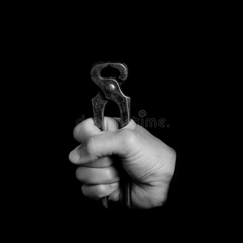 Schere - Werkzeuge in einer Mann ` s Hand stockfotos