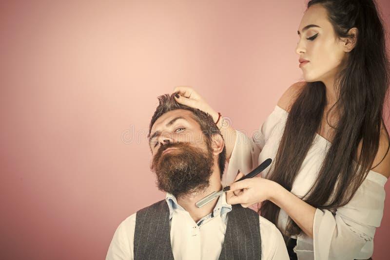 Scheren schnitten bemannt Haar stockfotografie