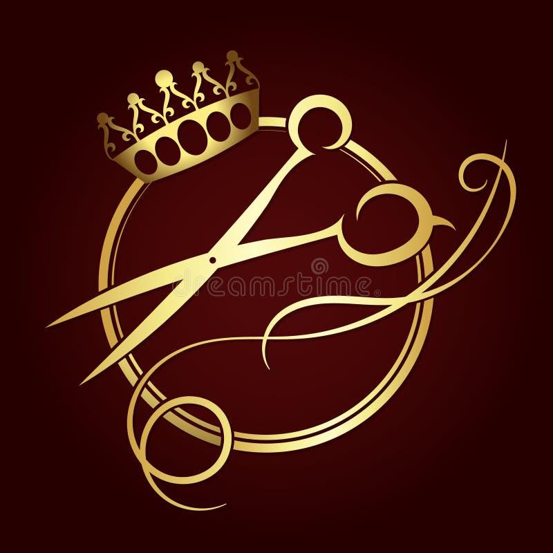 Scheren und eine Krone des Goldes färben Symbol lizenzfreie abbildung