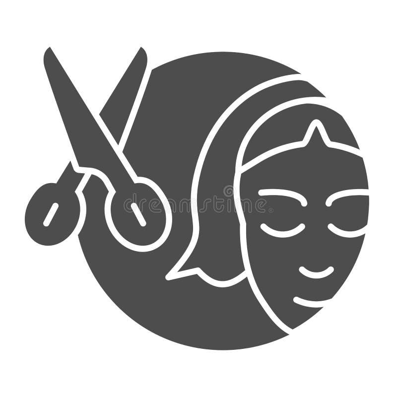 Scheren und feste Ikone des Mädchens Haarschnittvektorillustration lokalisiert auf Weiß Friseur Glyph-Artentwurf, bestimmt für lizenzfreie abbildung