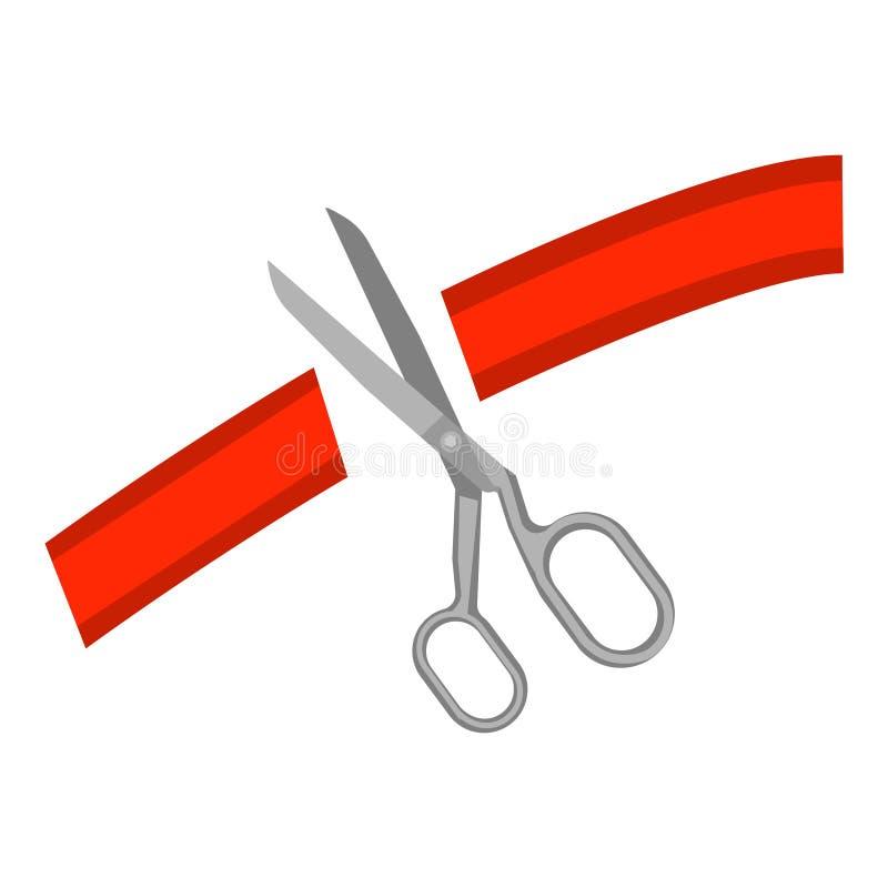 Scheren und Schnitt des roten Bandes vektor abbildung