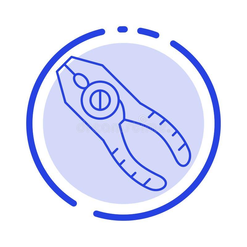 Scheren, Zangen, Zangen, Reparatur, Linie Ikone der Werkzeug-blauen punktierten Linie lizenzfreie abbildung