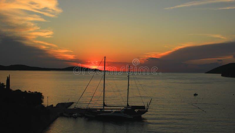 Scherer im Sonnenuntergang stockfoto
