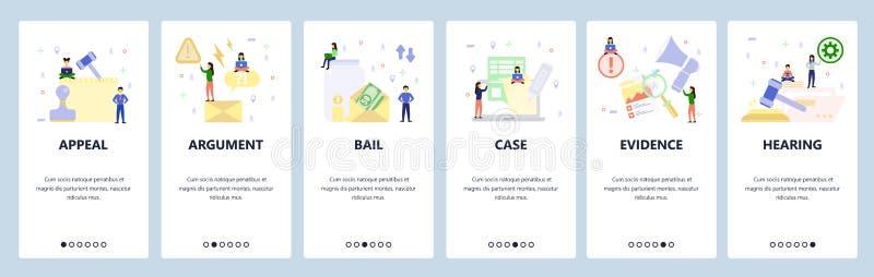 Schermate di onboard dell'app mobile Appello della Corte, cauzione sui soldi, causa legale, prove, audizione, avvocato Indicatore illustrazione vettoriale