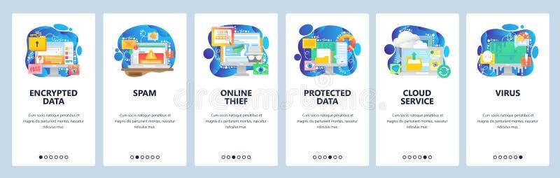 Schermate di onboard dell'app mobile Protezione dei dati, accesso sicuro, posta indesiderata e malware, hacker, virus, storage cl illustrazione vettoriale