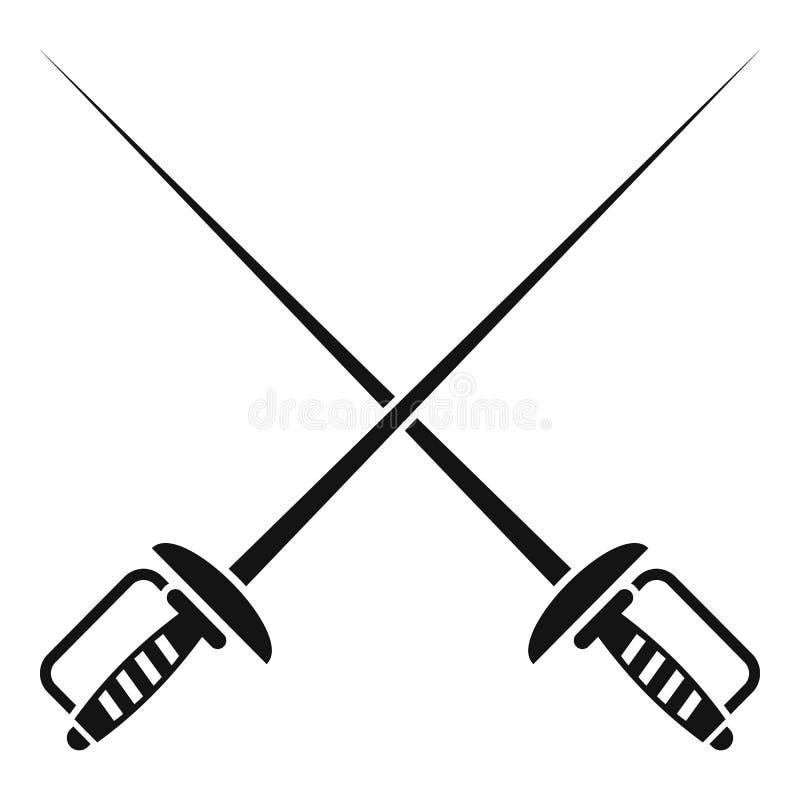 Schermend zwaardenpictogram, eenvoudige stijl royalty-vrije illustratie