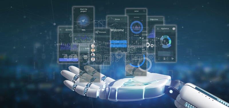 Schermi dell'interfaccia utente della tenuta della mano del cyborg con la rappresentazione dell'icona, di stats e di dati 3d royalty illustrazione gratis
