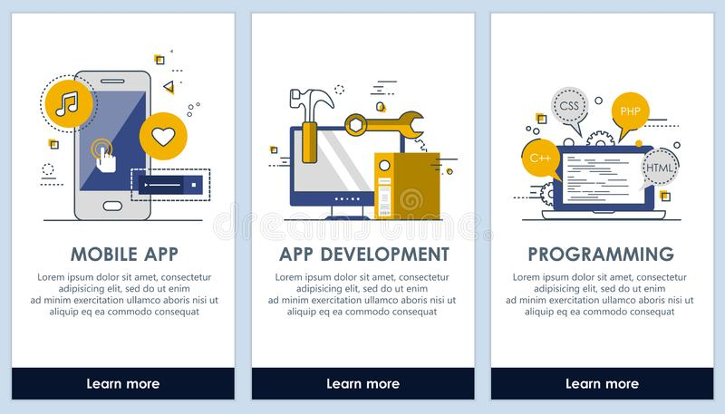 Schermi di progettazione del app piano di sviluppo di applicazioni e di programmazione Interfaccia utente moderna UX, modello del illustrazione di stock
