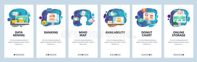 Schermi onboarding del app mobile Affare, data mining, mappa di mente e posto Modello dell'insegna di vettore del menu per il sit illustrazione di stock
