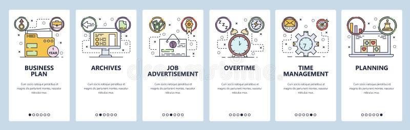 Schermi onboarding del app mobile Business plan, applicazione di lavoro ed offrire, gestione di tempo Modello dell'insegna di vet illustrazione di stock