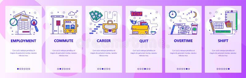 Schermi onboarding del app mobile Carriera di lavoro, occupazione, scala di carriera, ore straordinarie e turno di lavoro Insegna illustrazione di stock