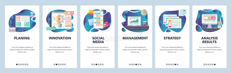 Schermi onboarding del app mobile Gestione di impresa e strategia che spianano, chiacchierata online, messaggi, media sociali men illustrazione vettoriale