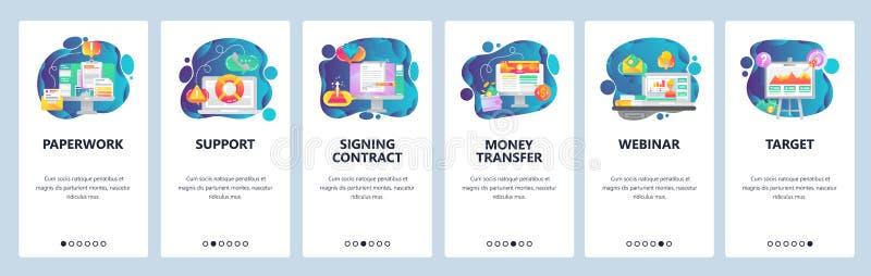 Schermi onboarding del app mobile Il lavoro di ufficio dell'ufficio, affare webinar, firma il contratto Modello dell'insegna di v illustrazione vettoriale