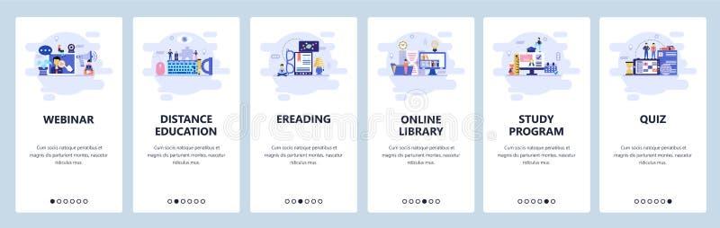 Schermi onboarding del app mobile Istruzione, webinar online, e-biblioteca e lettura, quiz Modello dell'insegna di vettore del me illustrazione di stock