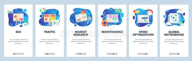 Schermi onboarding del app mobile SEO e vendita digitale, ricerca di mercato, ottimizzazione di velocità Insegna di vettore del m illustrazione vettoriale