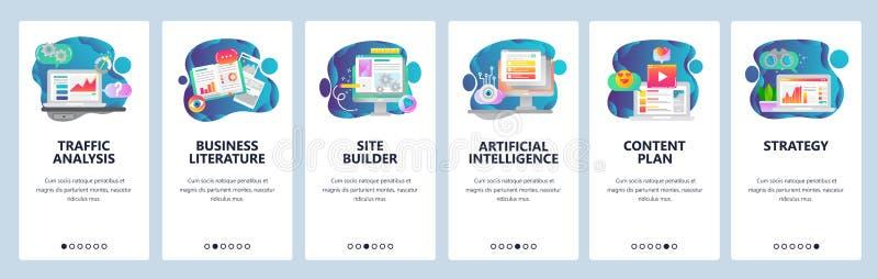 Schermi onboarding del sito Web Analisi del traffico, AI, sviluppo di affari e codifica del sito Web Modello dell'insegna di vett illustrazione vettoriale