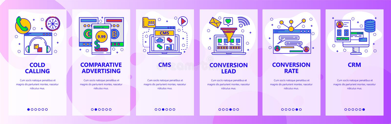 Schermi onboarding del sito Web Call center, CMS, sistemi di CRM, tasso di conversione Modello dell'insegna di vettore del menu p royalty illustrazione gratis