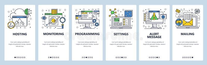 Schermi onboarding del sito Web Computer e servizi di Internet, codificanti Modello dell'insegna di vettore del menu per il sito  illustrazione vettoriale