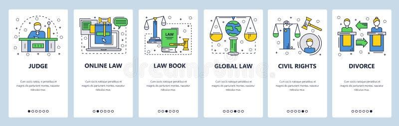 Schermi onboarding del sito Web Corte e sistema giudiziario, diritti civili, diritto di famiglia, diritto internazionale Insegna  illustrazione vettoriale
