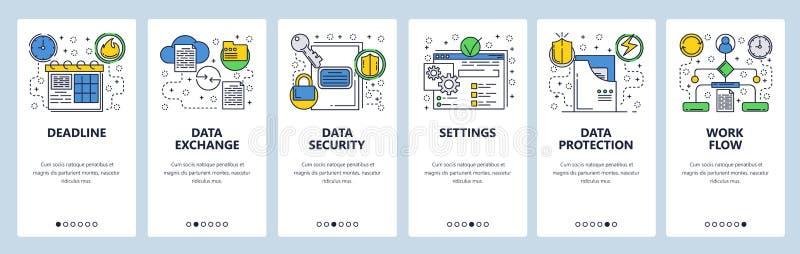 Schermi onboarding del sito Web Dello scambio dei dati, sincronizzazione e protezione Modello dell'insegna di vettore del menu pe royalty illustrazione gratis