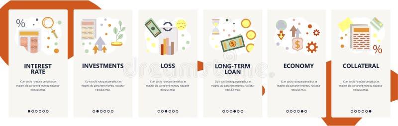 Schermi onboarding del sito Web Finanza ed icone del sistema bancario, prestito bancario, investimenti Modello dell'insegna di ve illustrazione di stock