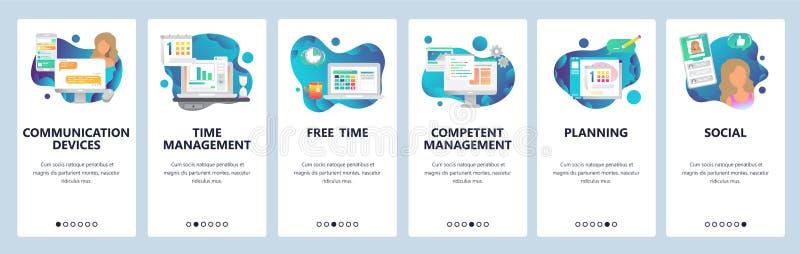 Schermi onboarding del sito Web Media online di chiacchierata, e gestione di tempo di datazione e sociali Modello dell'insegna di illustrazione vettoriale