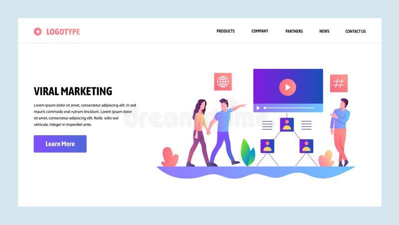 Schermi onboarding del sito Web Pubblicità di Digital e vendita virale online Modello dell'insegna di vettore del menu per il sit illustrazione di stock