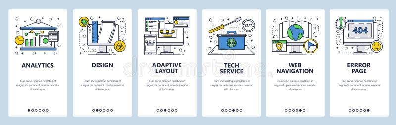 Schermi onboarding del sito Web Servizio di tecnologia del computer, pagina di errore, disposizione adattabile Modello dell'inseg royalty illustrazione gratis