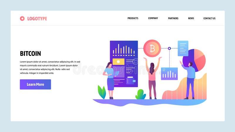 Schermi onboarding del sito Web Tecnologia di Blockchain e valuta cripto del bitcoin Modello dell'insegna di vettore del menu per illustrazione vettoriale