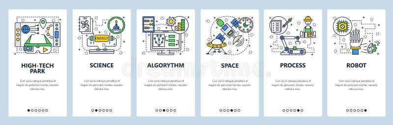 Schermi onboarding del sito Web Tecnologia, robot industriale, scienza e spazio cosmico Modello dell'insegna di vettore del menu  illustrazione vettoriale