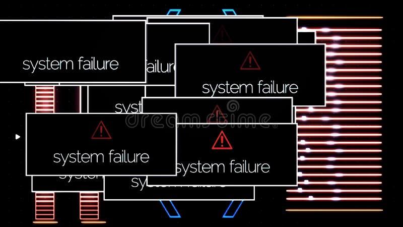 Schermo astratto del computer portatile con i messaggi di errore di danno del sistema ed il rumore del segnale, concetto cyber di illustrazione di stock