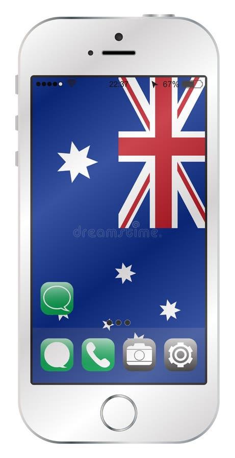 Schermo australiano del cellulare della bandiera illustrazione di stock