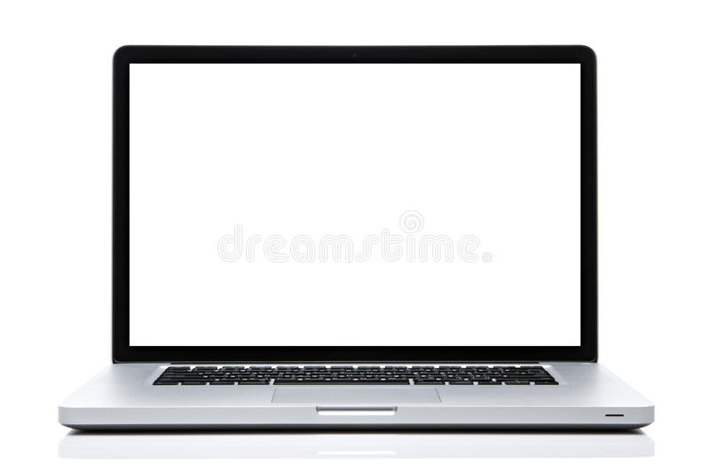 Schermo bianco del computer portatile su bianco isolato fotografia stock libera da diritti