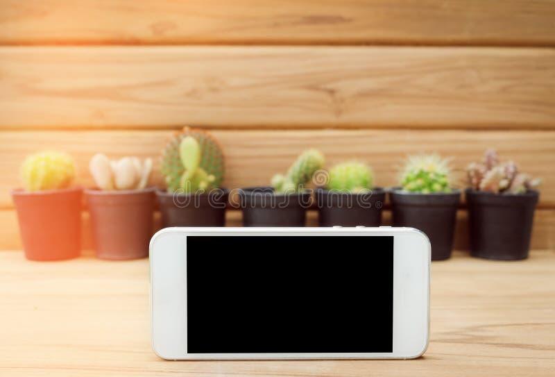 Schermo in bianco del telefono cellulare sulla plancia con il fondo di legno e del cactus fotografia stock