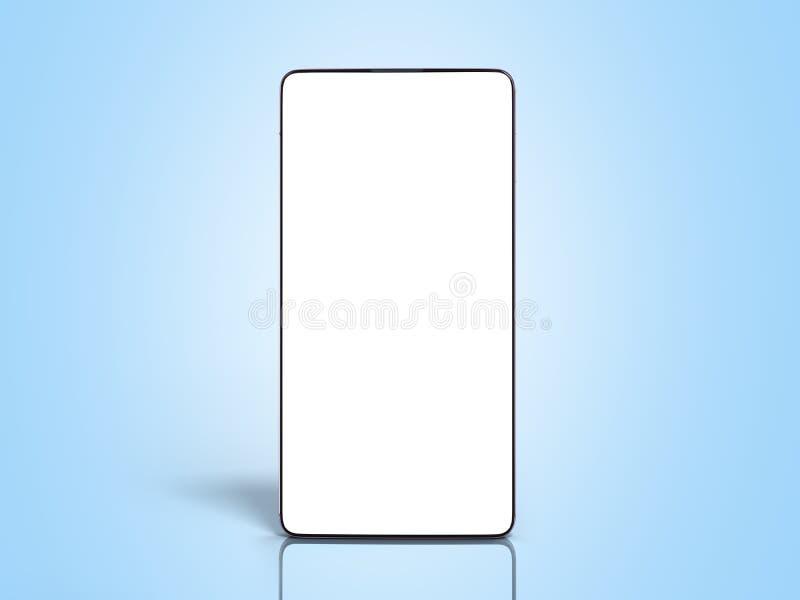 Schermo bianco dello Smart Phone a schermo pieno moderno per il modello 3d rendere sulla pendenza blu royalty illustrazione gratis