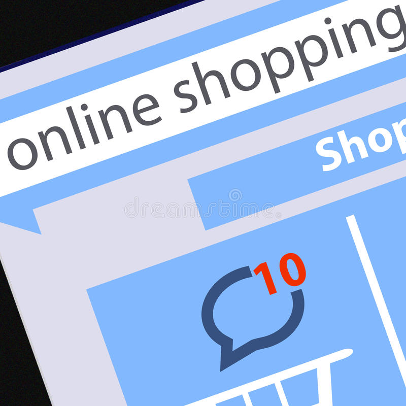 Schermo in bianco moderno del PC della compressa che mostra sul concetto di acquisto di progettazione piana del carrello dello sch illustrazione di stock