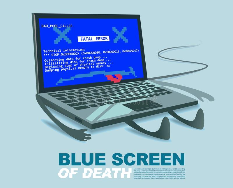 Schermo blu del virus informatico di morte o dell'illustrazione tecnica del fumetto di errore di errore illustrazione vettoriale
