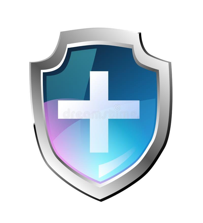 Schermo blu di shieldVector blu di vettore, immagine realistica, incrocio bianco royalty illustrazione gratis