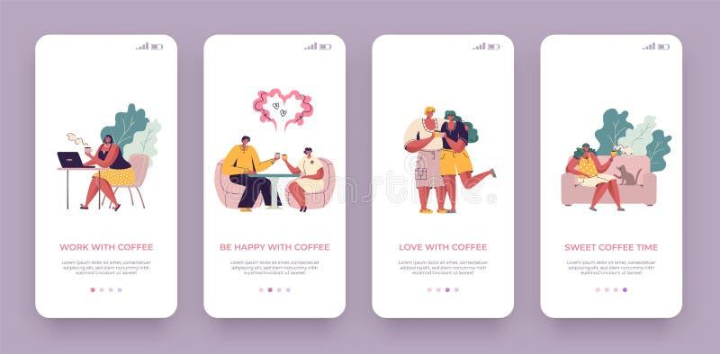 Schermo a bordo del caffè Applicazione mobile d'avanguardia UI con i personaggi dei cartoni animati che bevono caffè e parlare Ap royalty illustrazione gratis