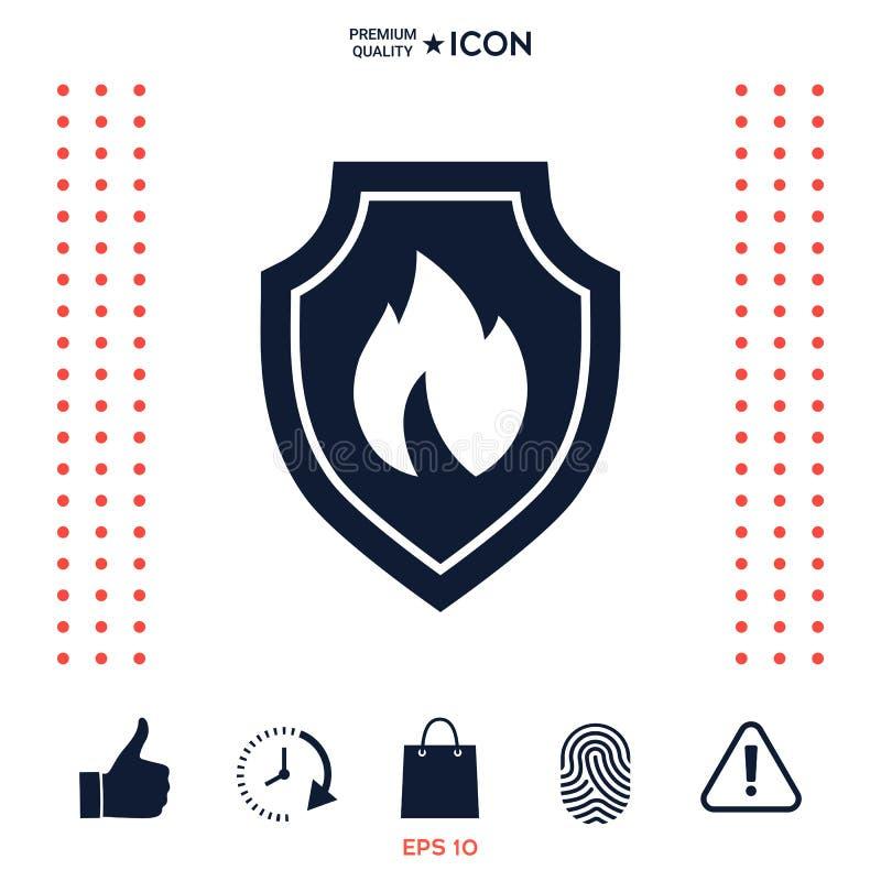 Download Schermo Con Il Segno Del Fuoco - Icona Di Protezione Illustrazione Vettoriale - Illustrazione di emblema, falò: 117976873