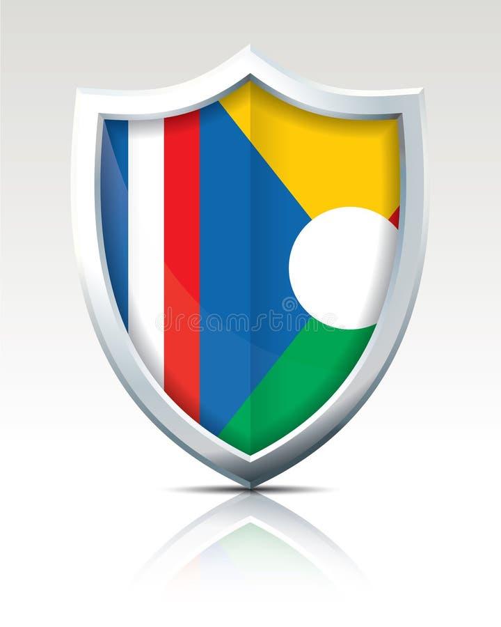 Schermo con la bandiera della Riunione illustrazione vettoriale