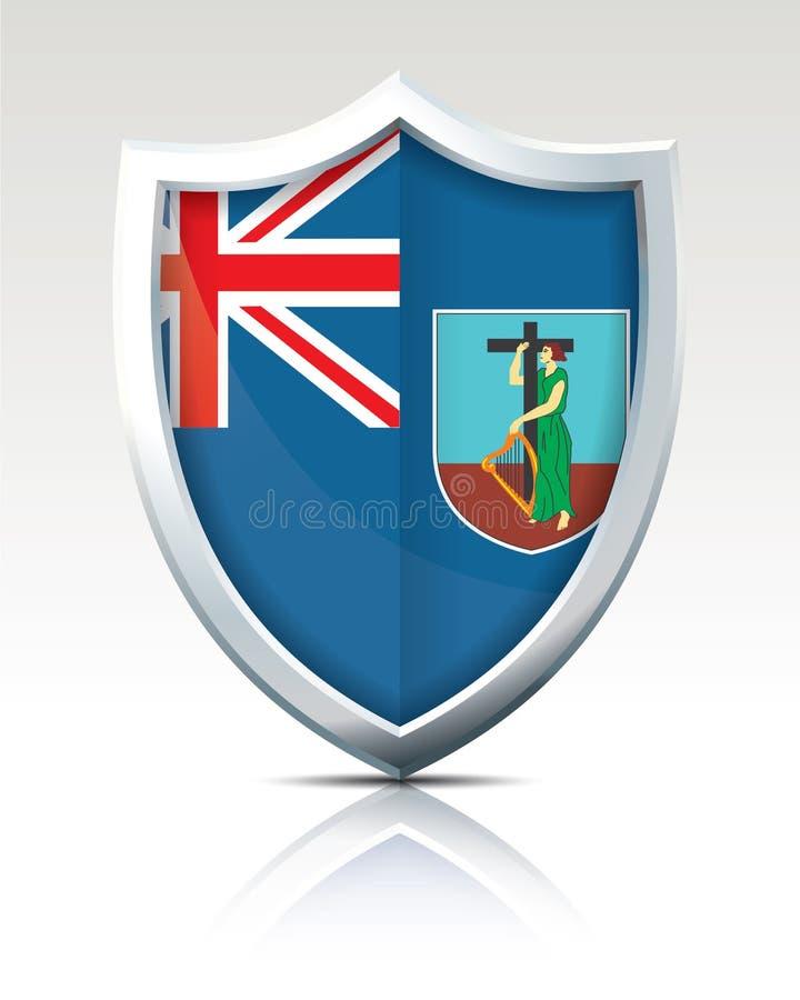 Schermo con la bandiera di Montserrat illustrazione vettoriale